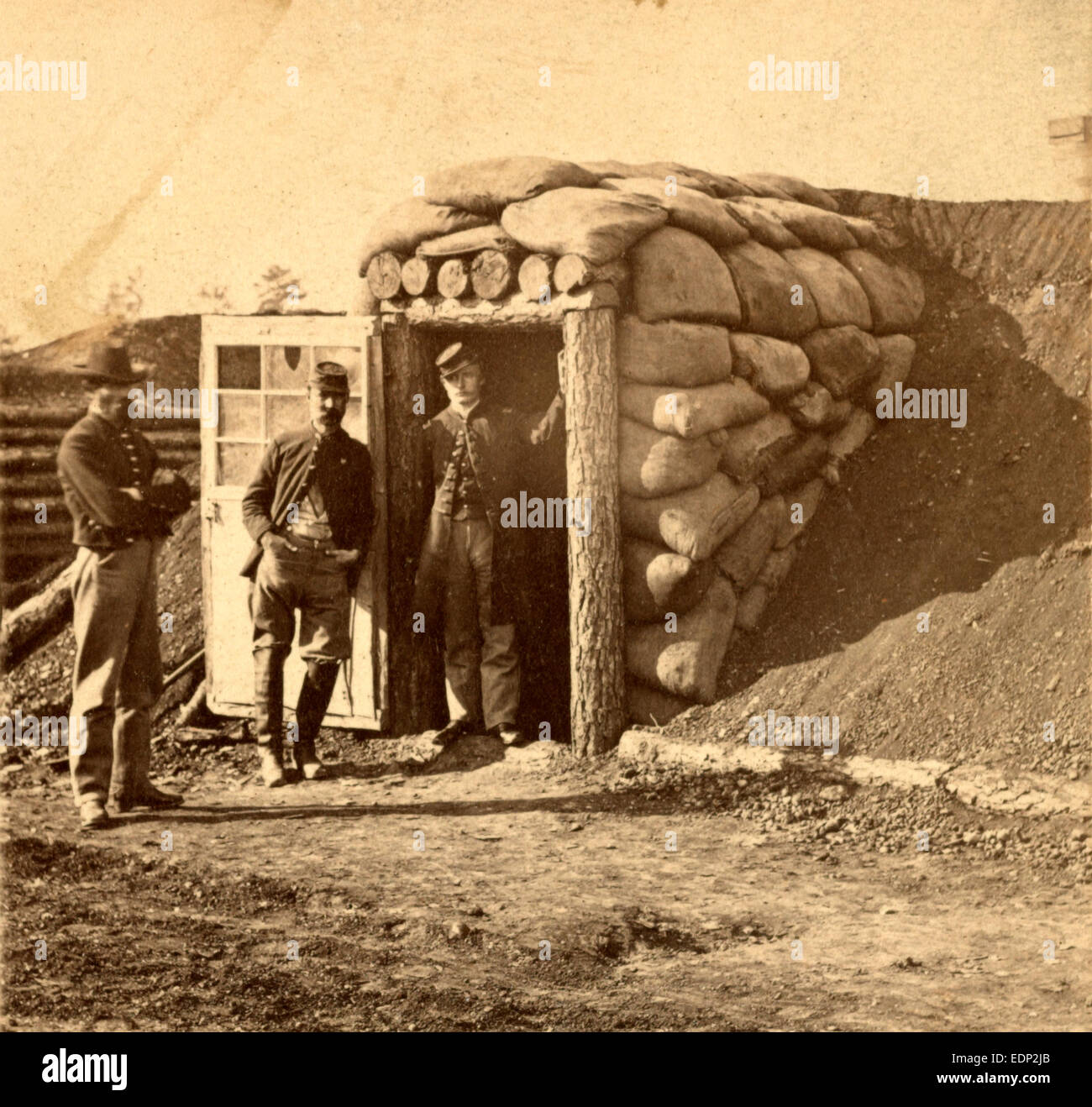 Bomb proof quarters at Ft. Burnham. The sides and top are 7 feet thick, contains two rooms, sleeping and cooking, - Stock Image
