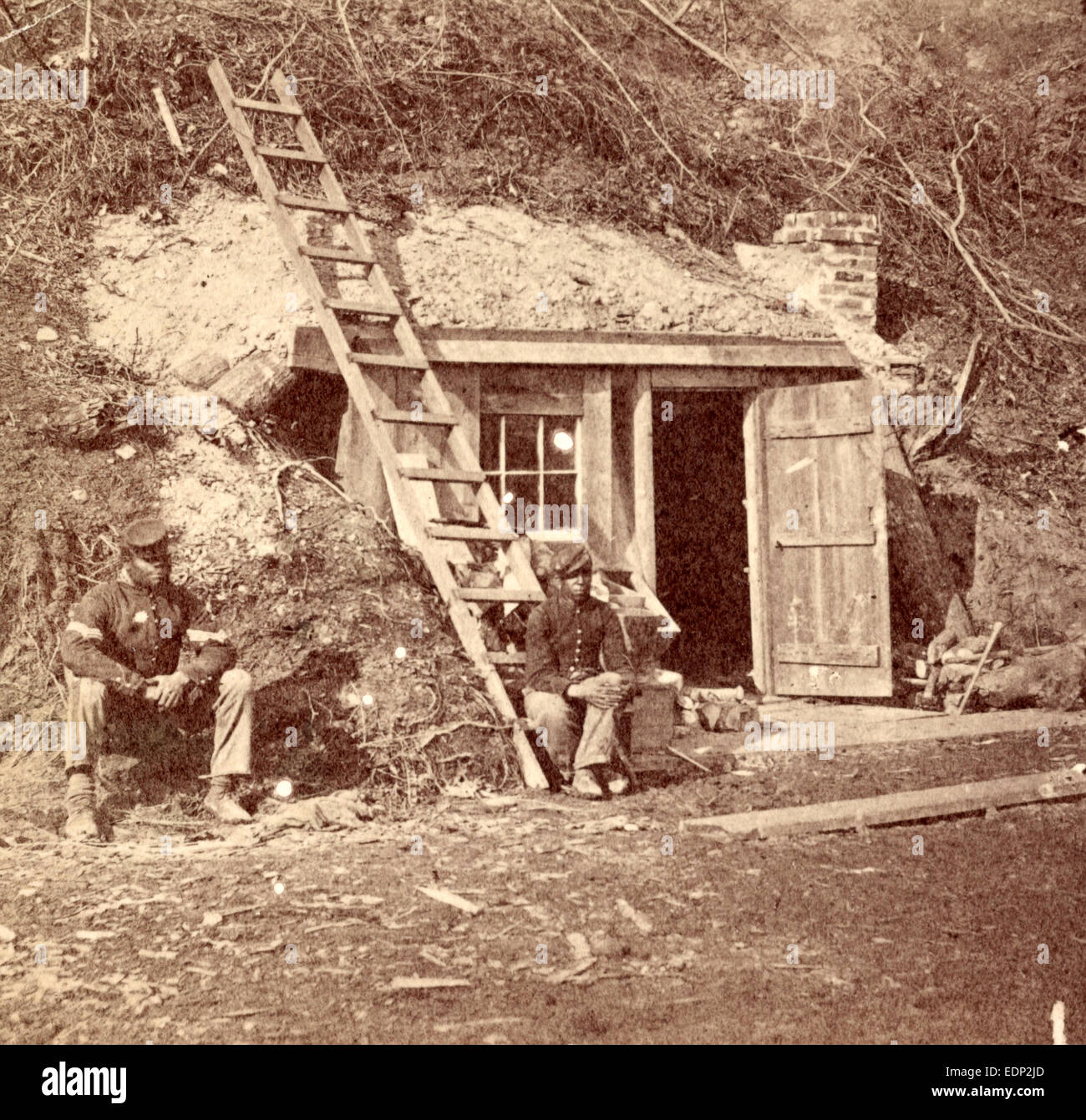 Bomb-proof quarters of Major Strong, at Dutch Gap, Va., July, 1864, US, USA, America, Vintage photography - Stock Image