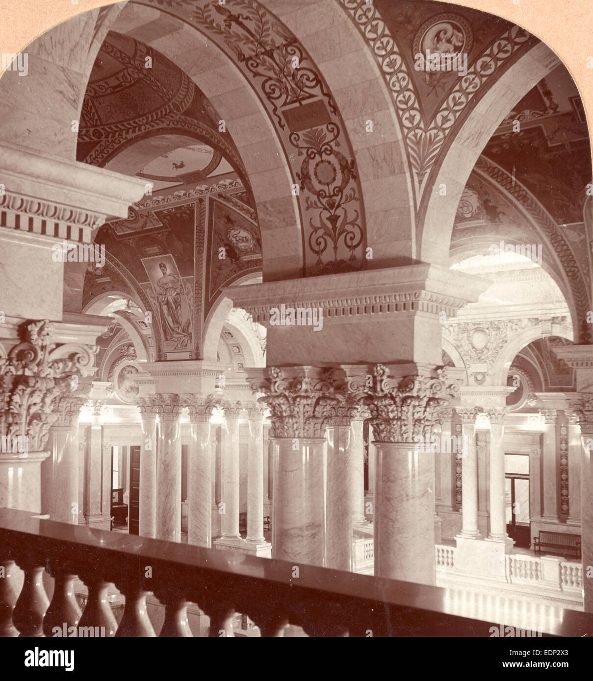 A poem in marble columns and frescoed walls, Congressional Library, Washington, DC, US, USA, America, Vintage photography - Stock Image