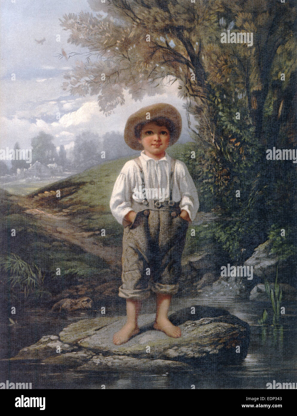 Whittier's barefooted boy; L. Prang & Co.; Johnson, Eastman, 1824-1906 , artist, Whittier, John Greenleaf, - Stock Image