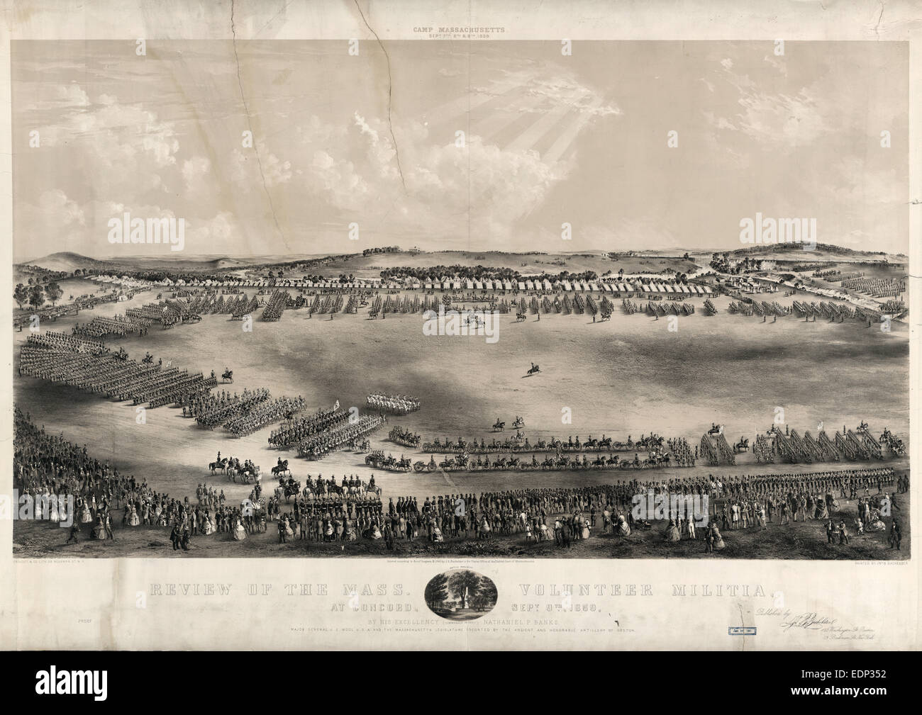 Review of the Mass. volunteer militia, at Concord, Sept. 9, 1859, by his excellency (commander in chief) Nathaniel - Stock Image