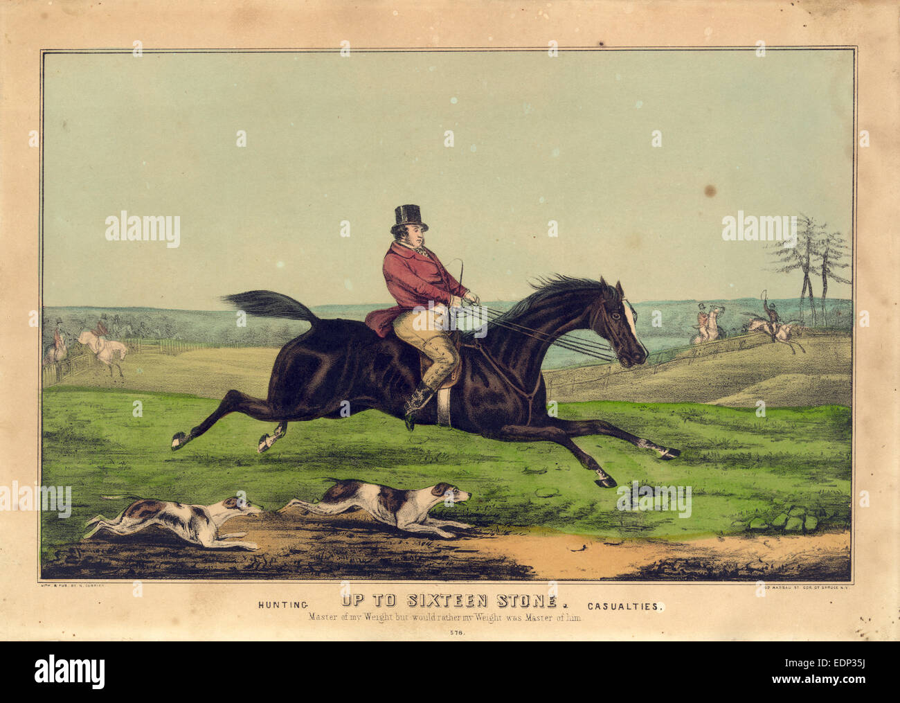 Up to sixteen stone: hunting casualties; N. Currier (Firm),; New York : Published by N. Currier, [between 1835 and - Stock Image