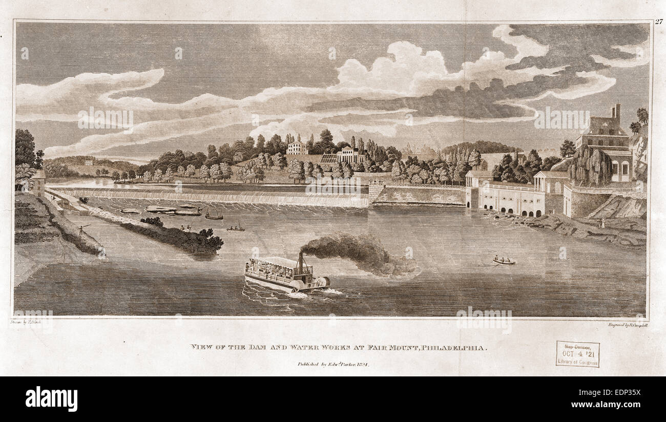 View of the dam and water works at Fairmount, Philadelphia / drawn by T. Birch ; engraved by R. Campbell.; Campbell, - Stock Image