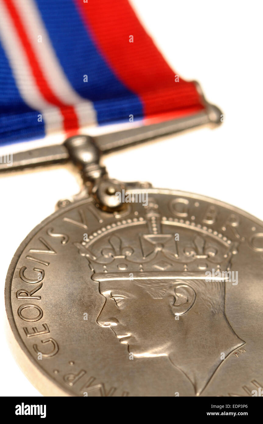 Second World War medal - the 1939-1945 War Medal - Stock Image