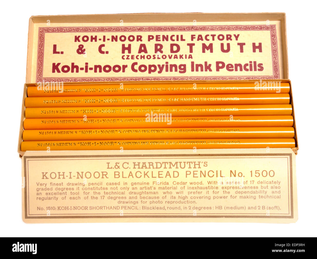 Koh-i-noor Copying Ink Pencils made by L & C Hardtmuth, Czechoslovakia, 1970s - Stock Image