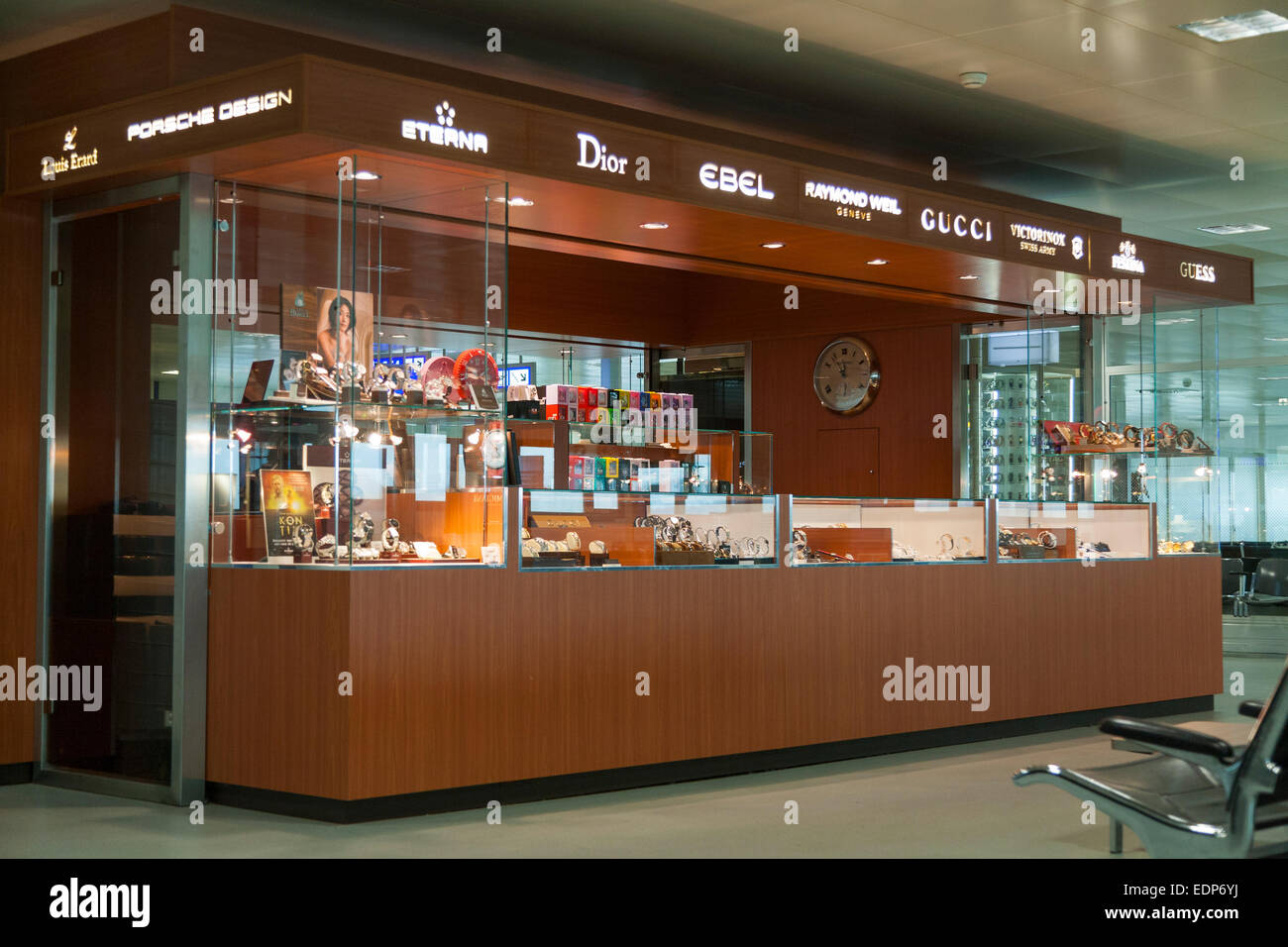 Shop / store in selling Swiss made wrist watches in International terminal departure hall, Geneva / Geneve Airport, - Stock Image