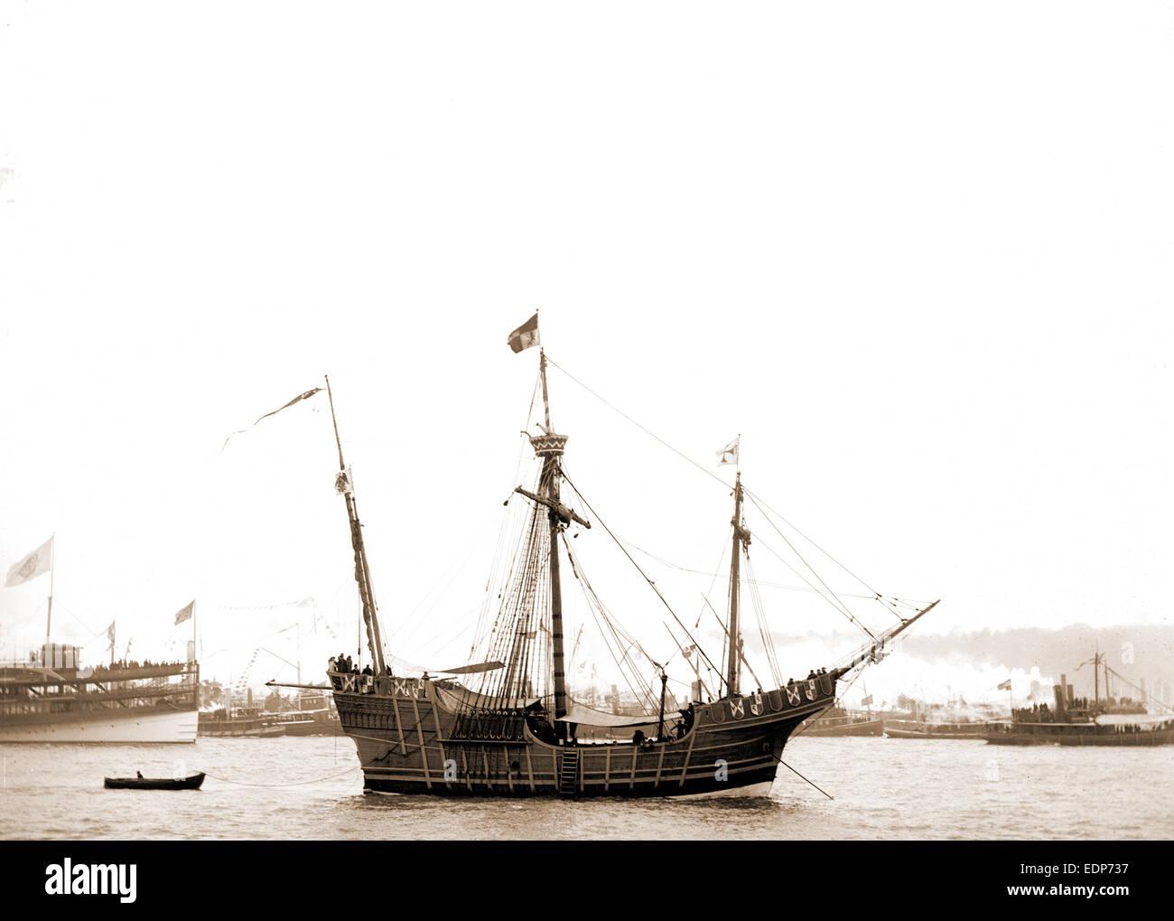Spanish caravel Santa Maria, Santa Maria (Sailing ship : Replica), Ships, 1892 - Stock Image