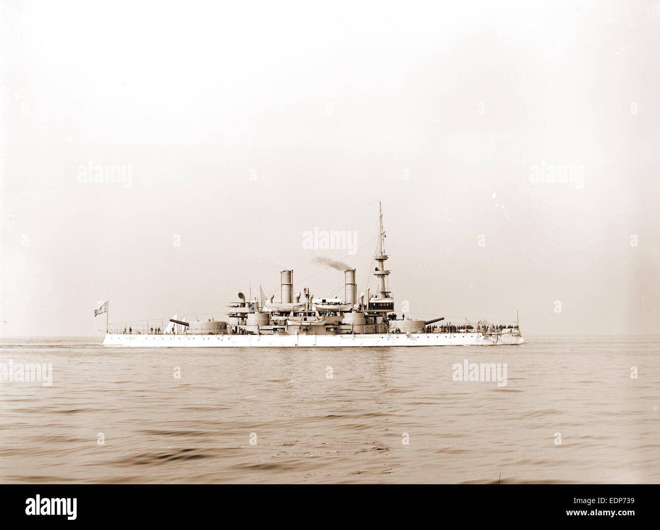 U.S.S. Indiana, Indiana (Battleship), Battleships, American, 1899 - Stock Image