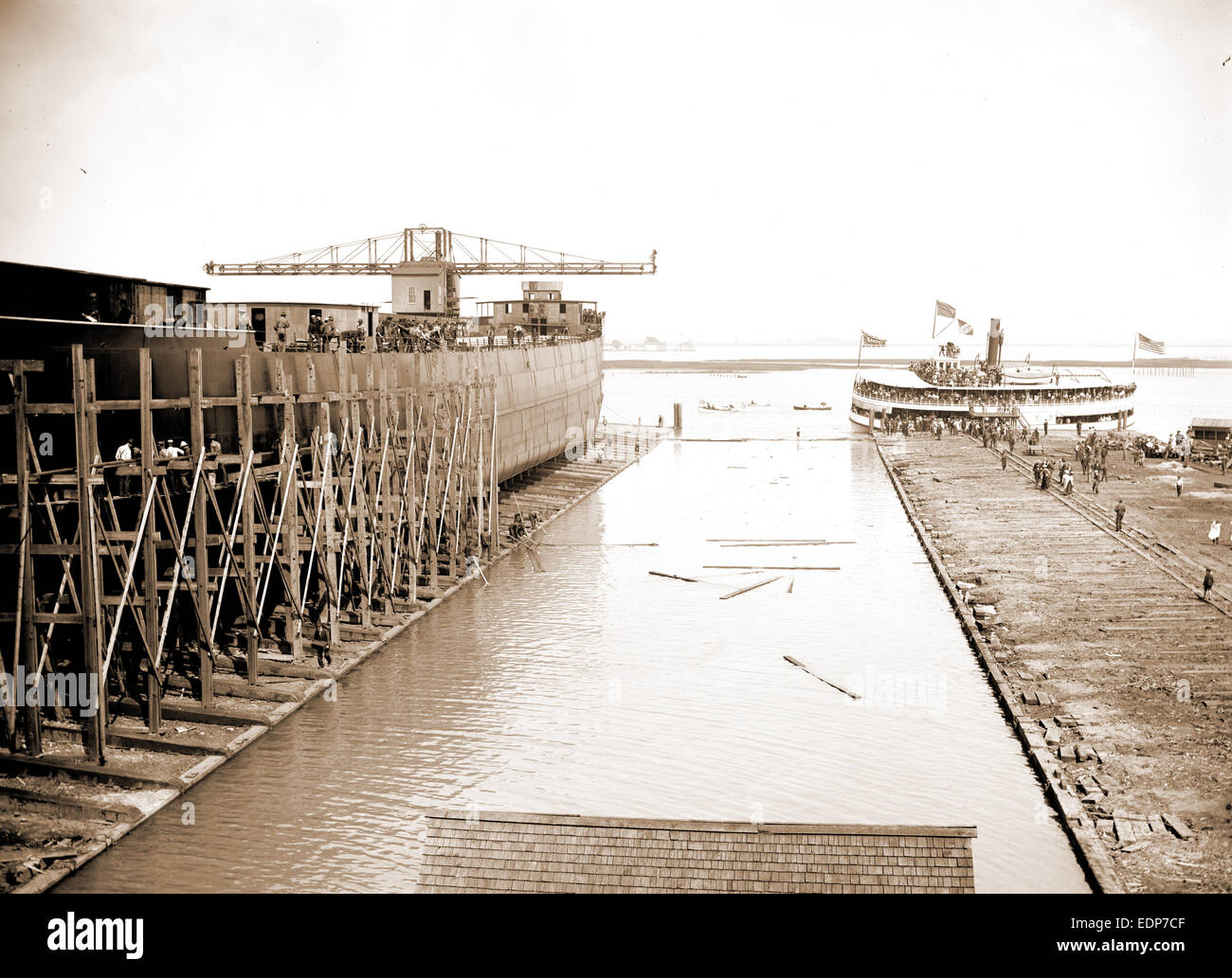 Str. Simon J. Murphy on the ways, Simon J. Murphy (Steamship), Ships, Boat & ship industry, Piers & wharves, - Stock Image