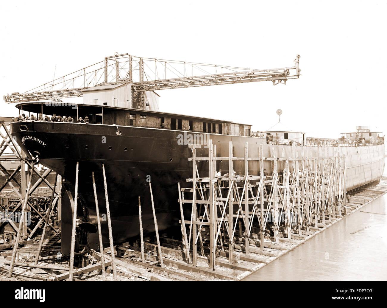 Str. Simon J. Murphy on the ways, Simon J. Murphy (Steamship), Ships, Boat & ship industry, United States, Michigan, - Stock Image