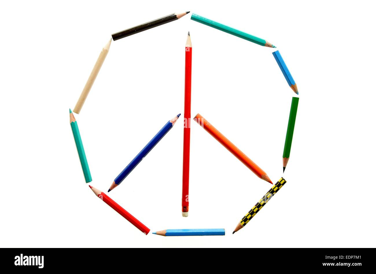 Pencils form a peace symbol, Germany, city of Osterode, 8. January 2015. Photo: Frank May - Stock Image