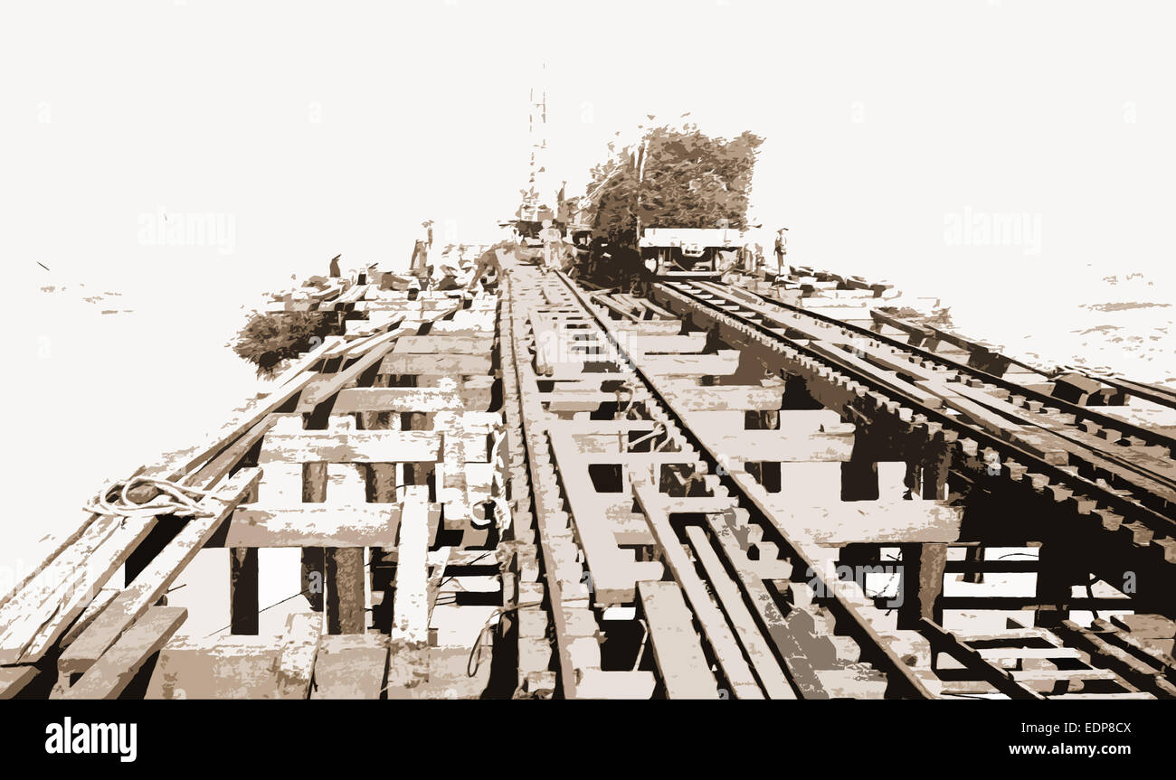Construction of mattresses, Jackson, William Henry, 1843-1942, Railroad construction & maintenance, Jetties - Stock Image