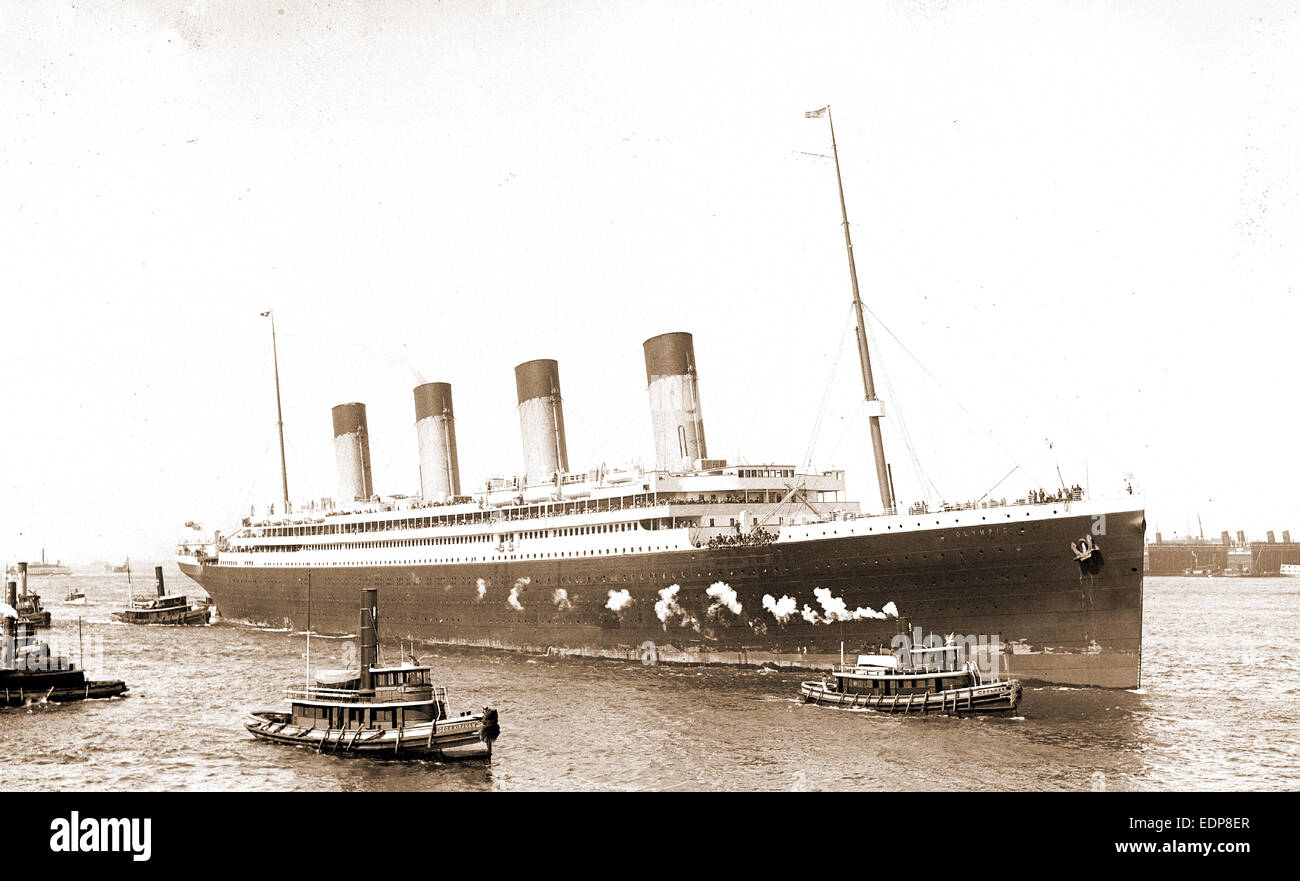 White Star S.S. Olympic guided in by tugboats Geo. K. Kirkham and Dowmer, Olympic (Steamship), Ocean liners, Tugboats, Stock Photo