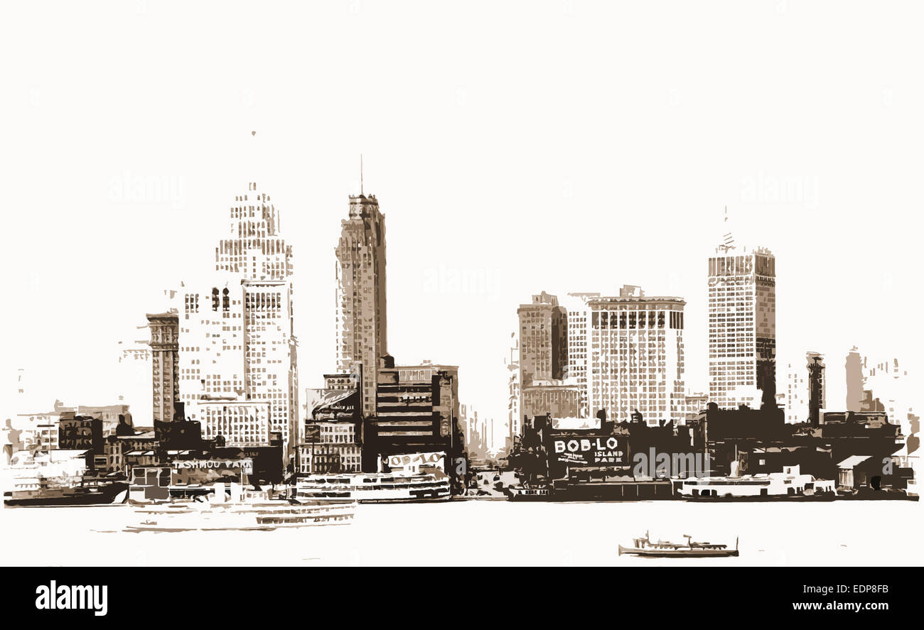 Detroit, Rivers, Skyscrapers, United States, Michigan, Detroit River, 1910 - Stock Image