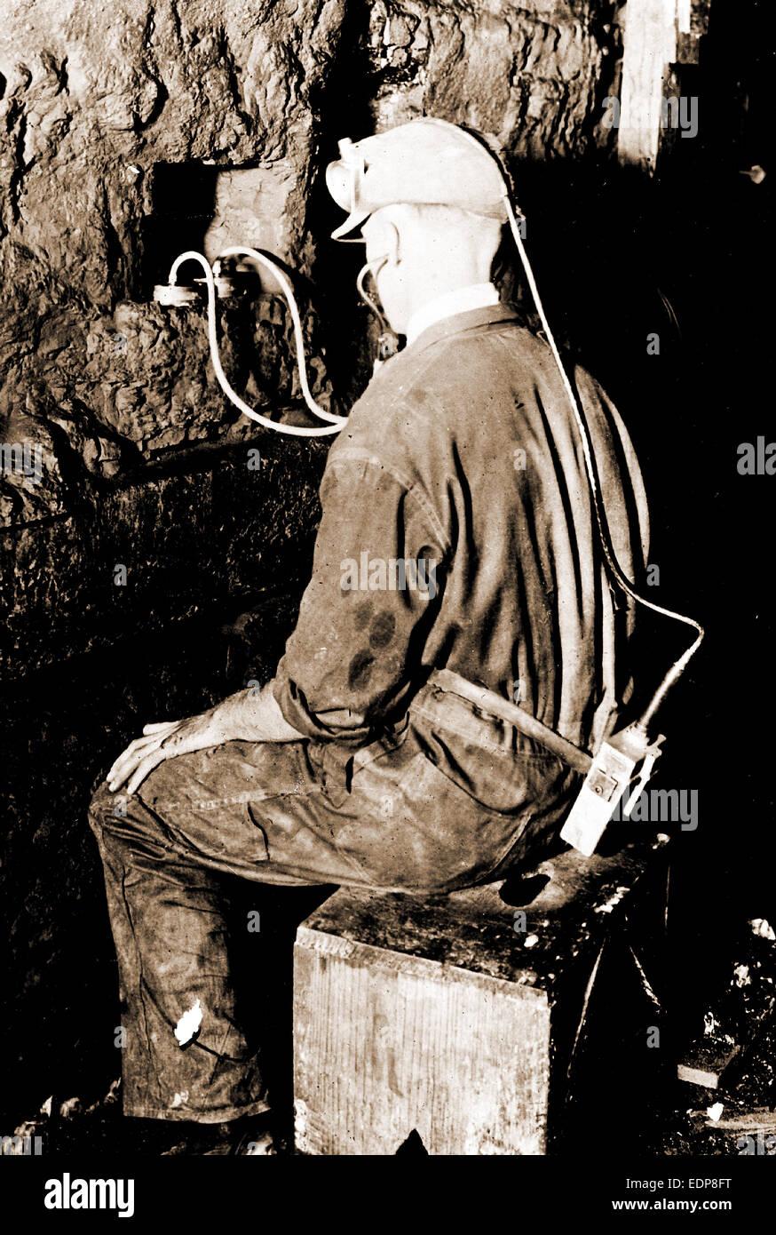Geophone, Mining, Telephones, 1910 - Stock Image