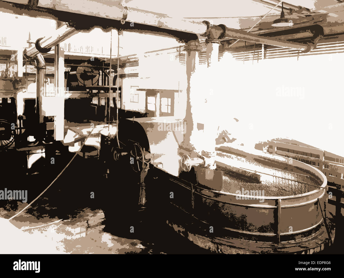 The Pulp is ground and sizing added, Paper industry, 1922 - Stock Image