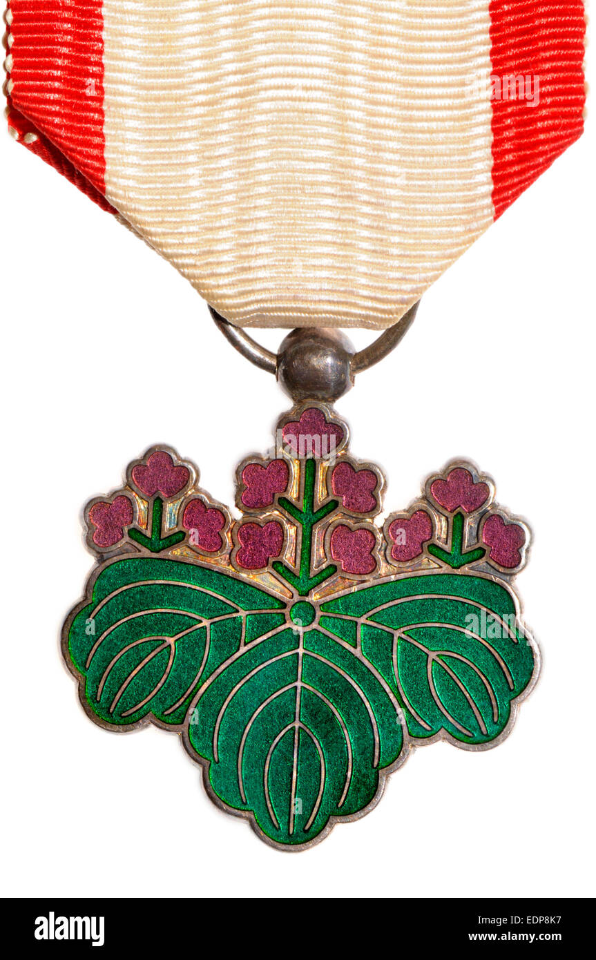 Japanese Medal: Order of the Rising Sun (7th class) - Stock Image