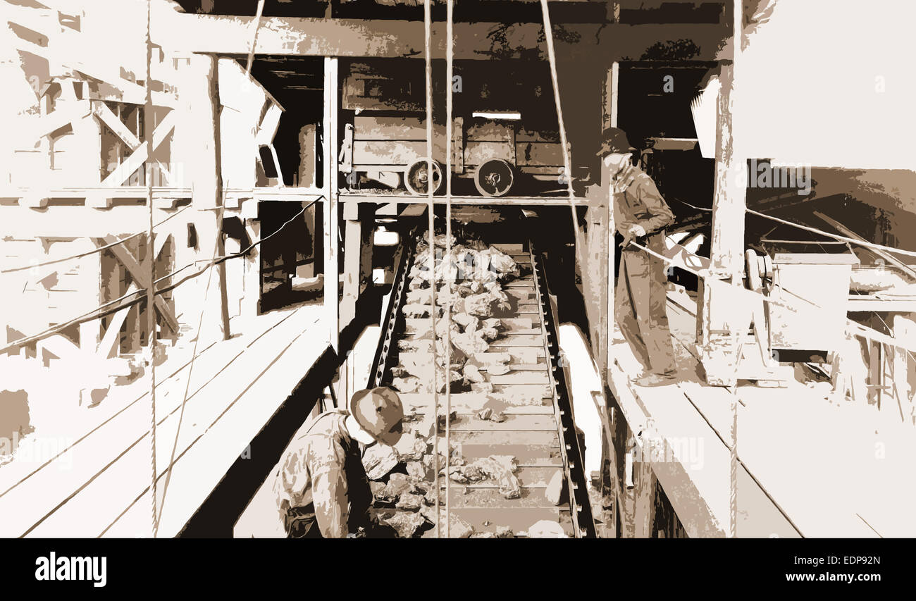 All coal picked clean of laminated coal, Ore industry, Coal, Conveying systems, 1922 - Stock Image