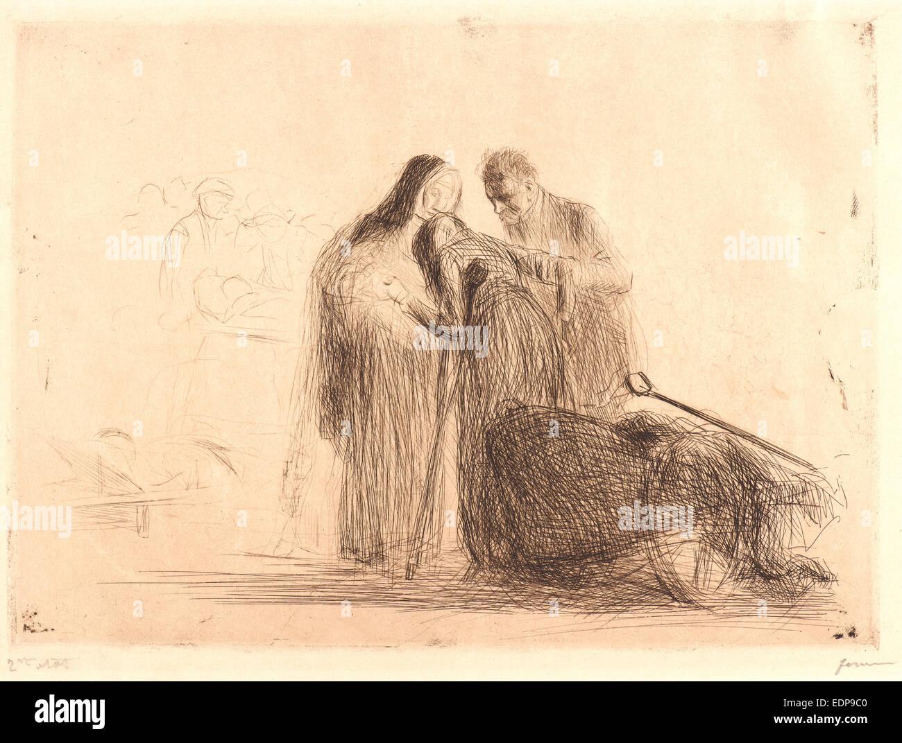 Jean Louis Forain (French, 1852 - 1931). Lourdes: La Paralytique. Etching on wove paper - Stock Image