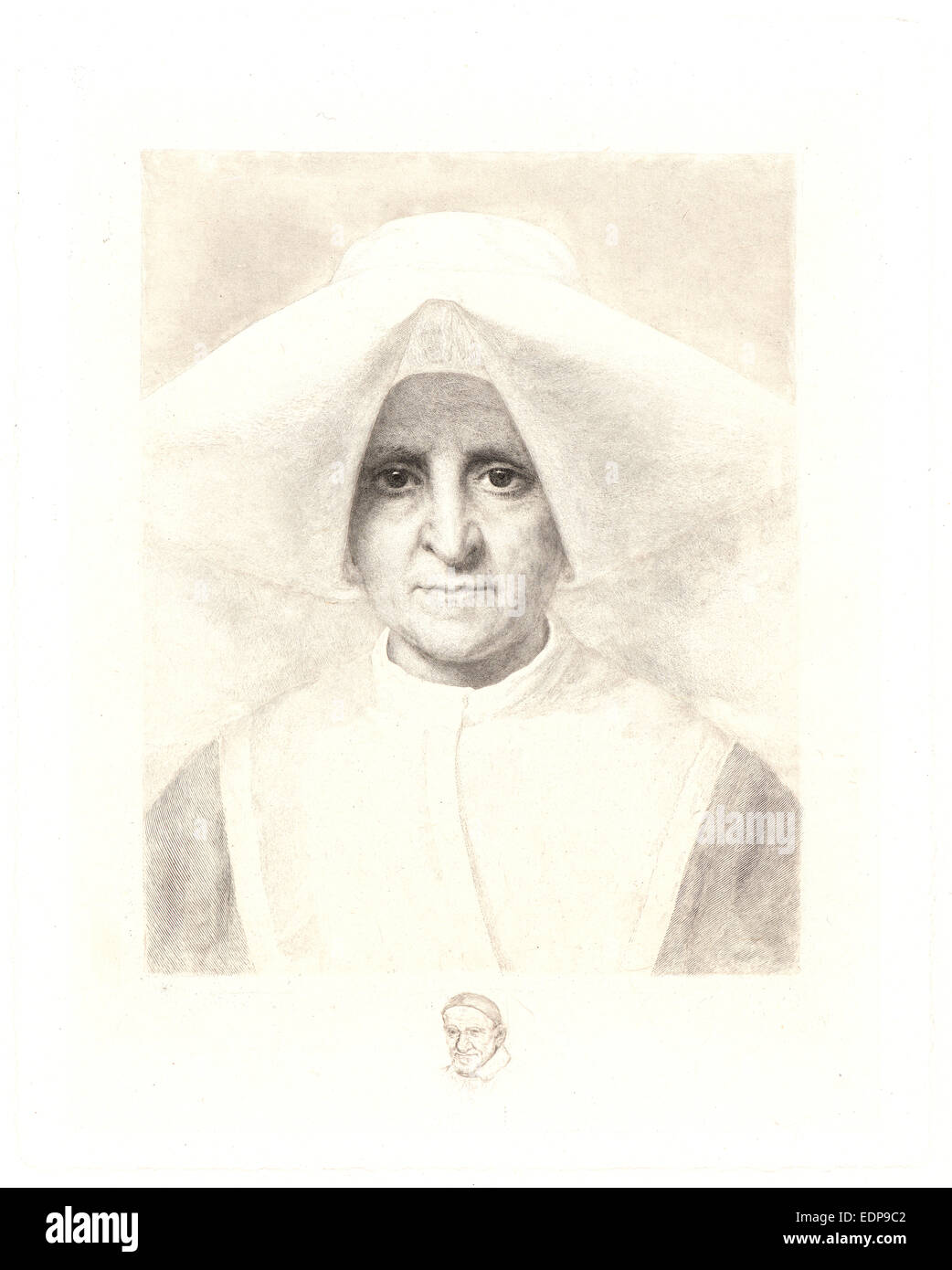 Claude-Ferdinand Gaillard (French, 1834 - 1887). La Soeur Rosalie de face, 19th century. Etching and engraving - Stock Image