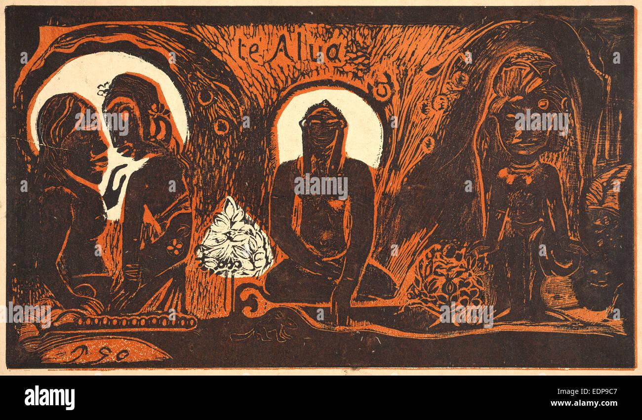 Paul Gauguin (French, 1848 - 1903). Te Atua (The Gods), 1893-1894. Woodcut printed in two colors, black and orange - Stock Image