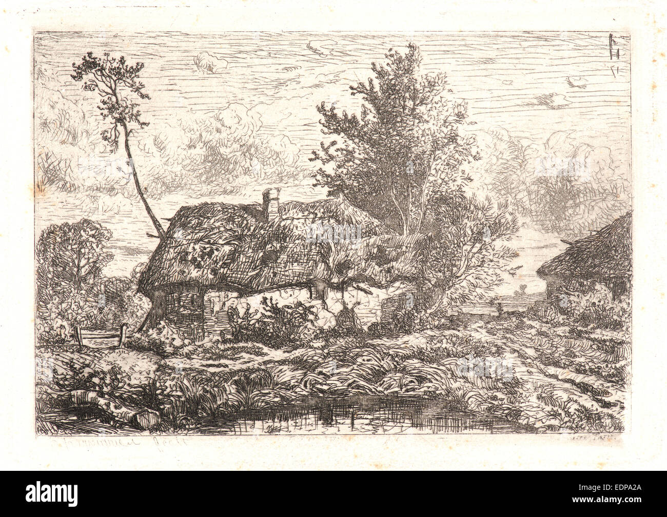 Henri-Joseph Harpignies (French, 1819 - 1916). The Thatched Cottage (La Chaumière). Etching - Stock Image