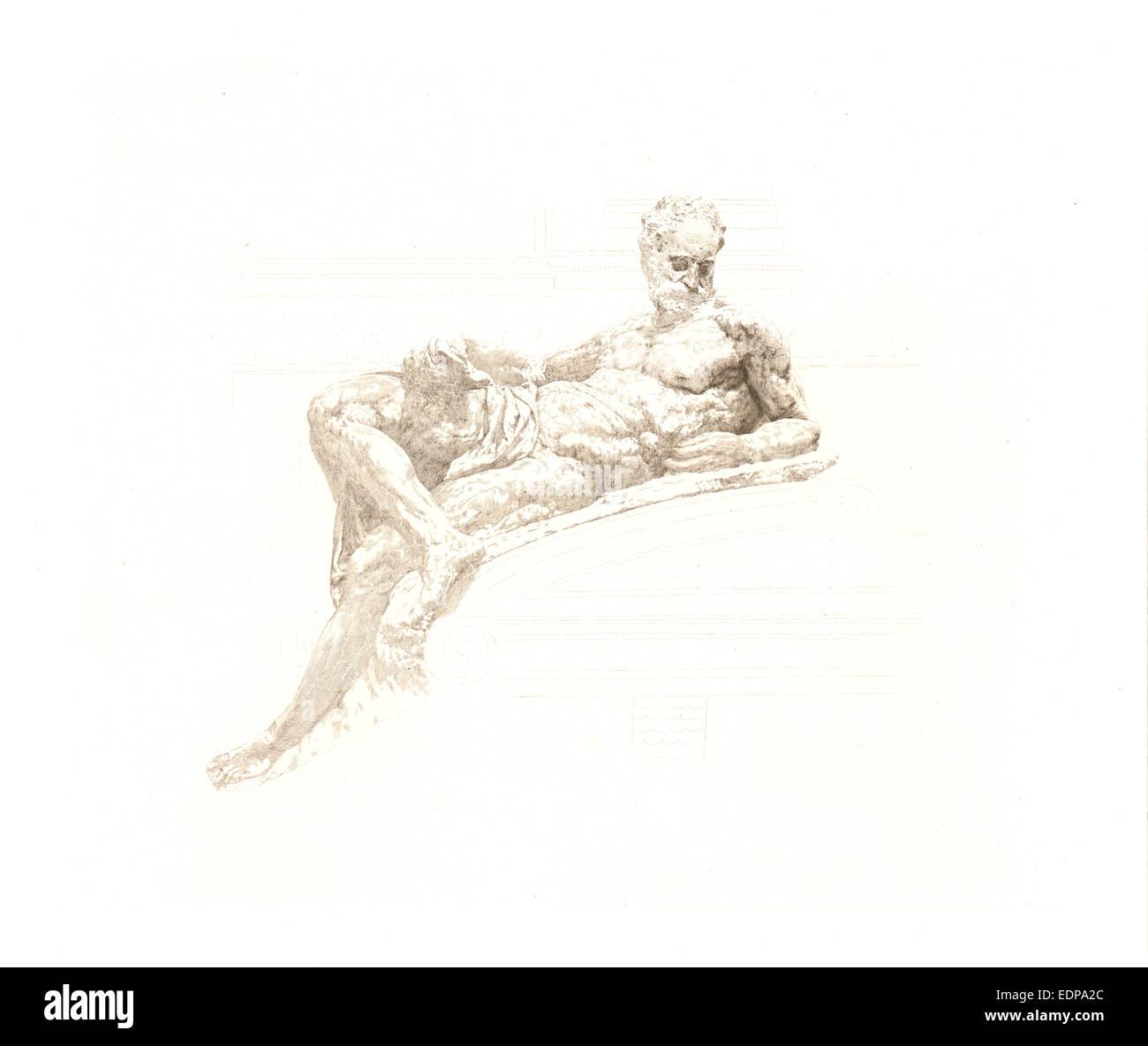 Claude-Ferdinand Gaillard (French, 1834 - 1887) after Michelangelo Buonarroti (Italian, 1475 - 1564). Le Crépuscule, - Stock Image