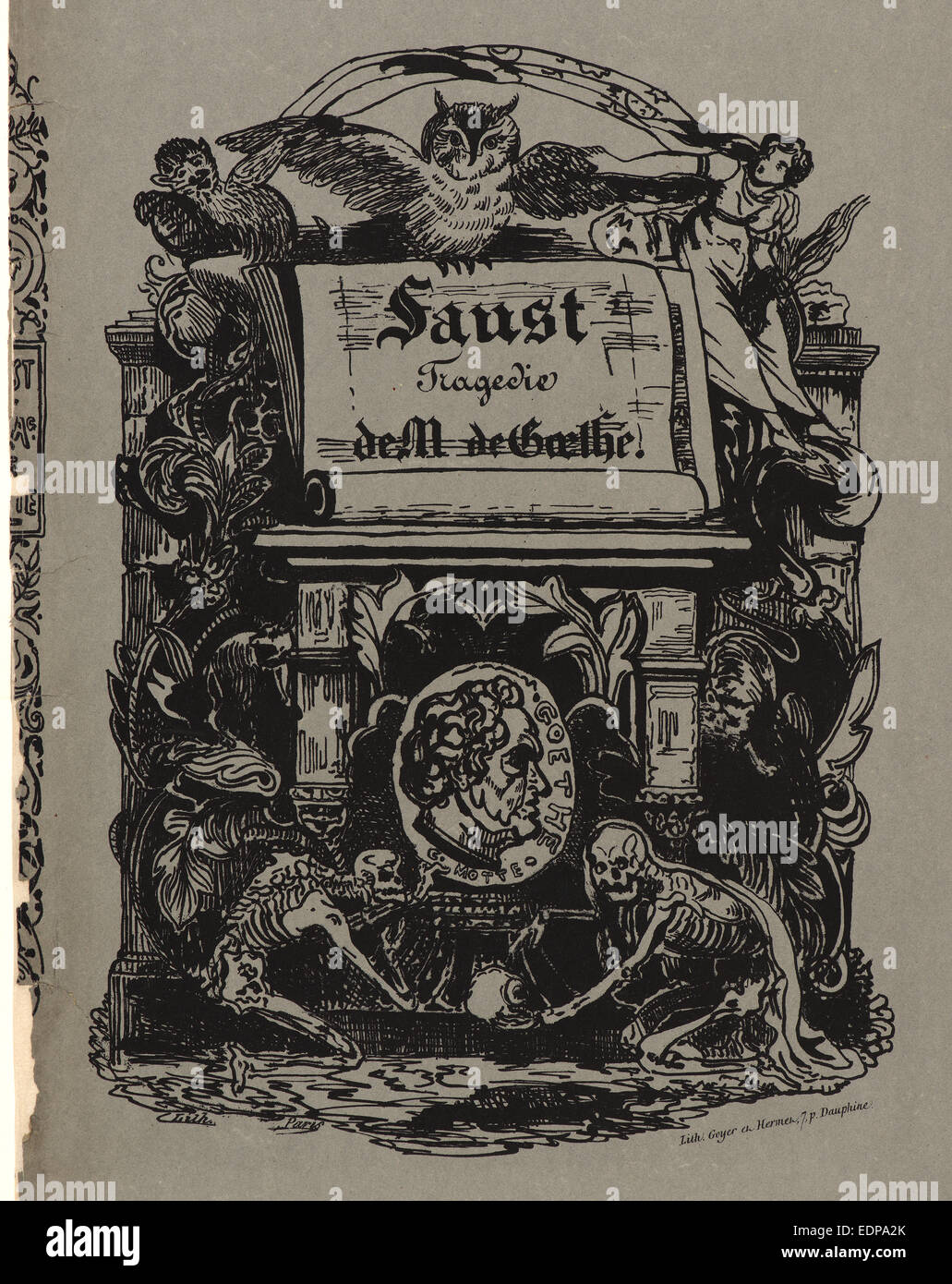 Eugène Delacroix (French, 1798 - 1863). Faust: portfolio cover (front), 1828. From Faust. Lithograph - Stock Image