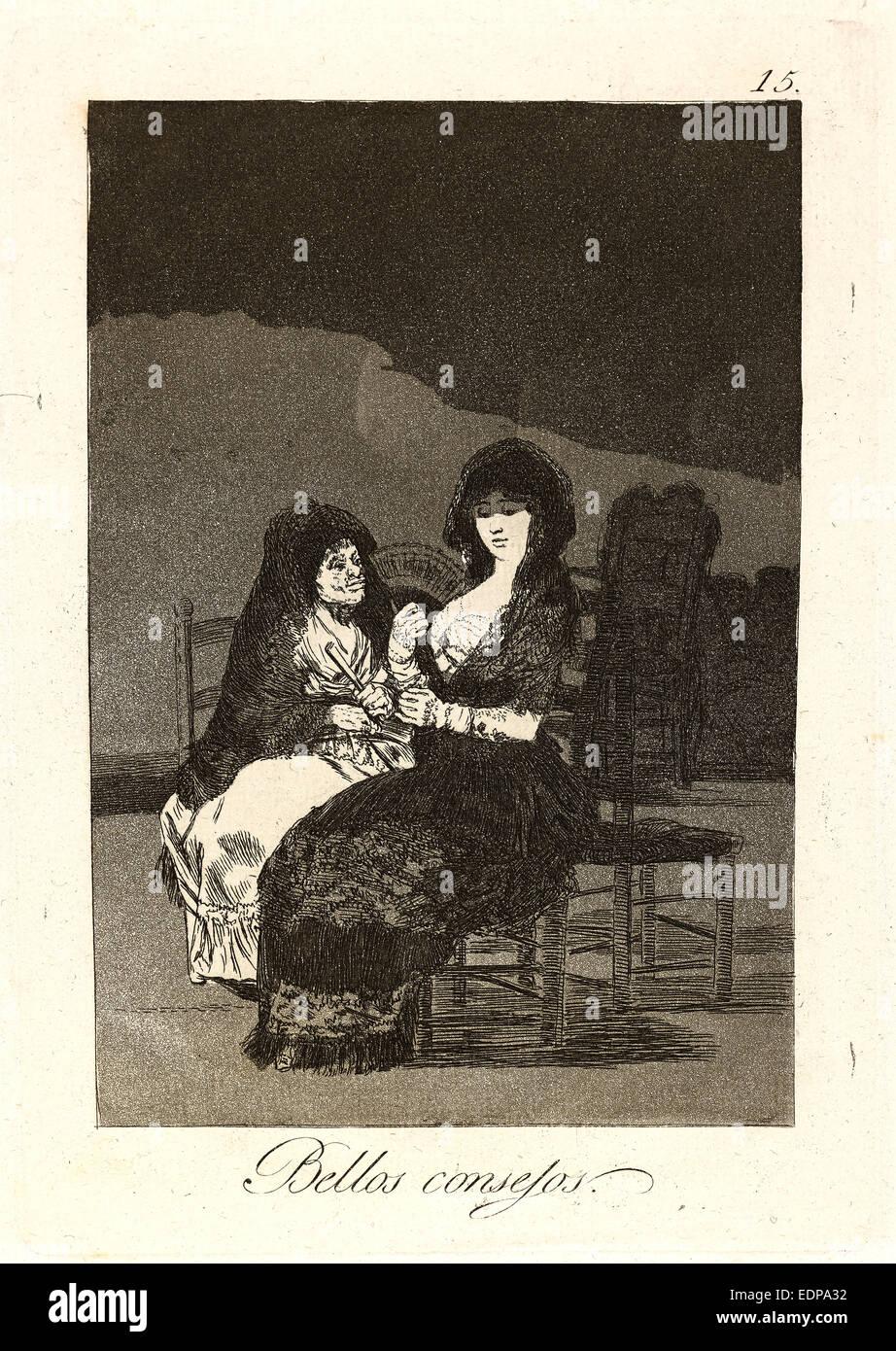 Francisco de Goya (Spanish, 1746-1828). Bellos consejos. (Pretty teachings.), 1796-1797. From Los Caprichos, no. - Stock Image