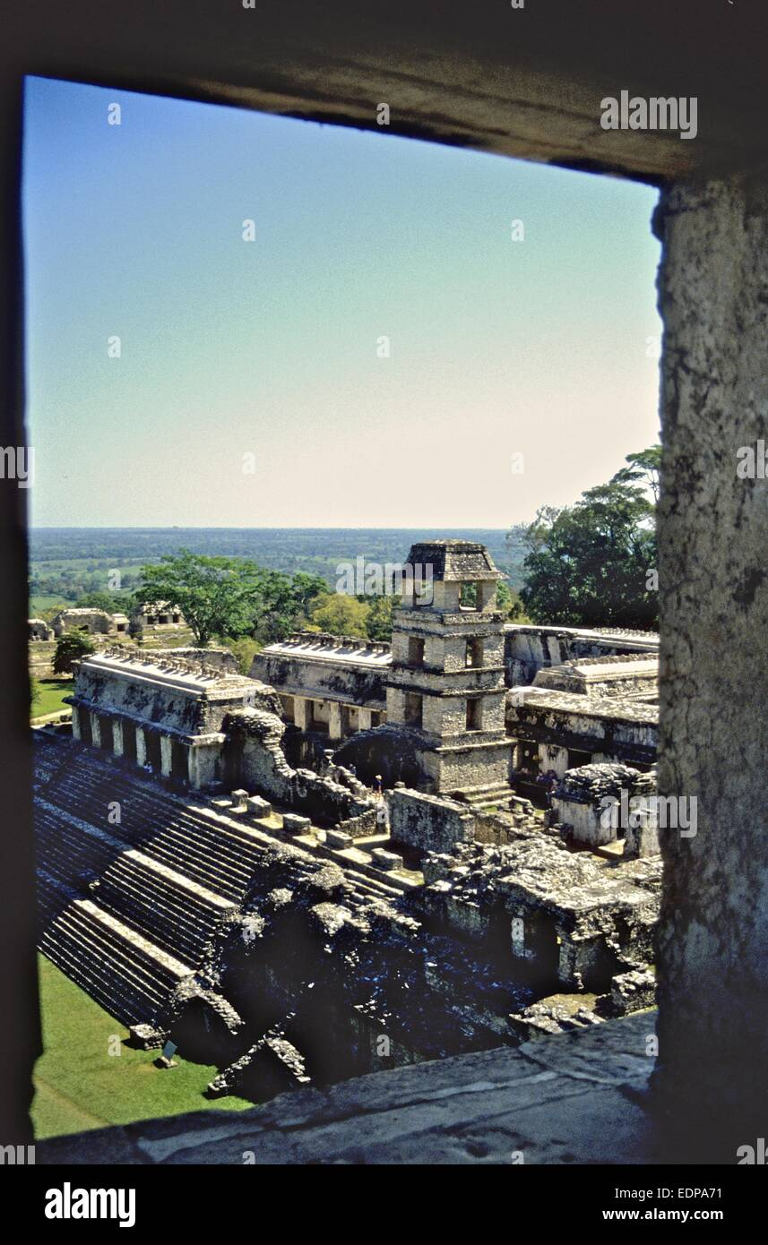 Mexico - Maya ruins at Palenque - on of the biggest and best archaeological sites in Mexico. The Palace - Stock Image