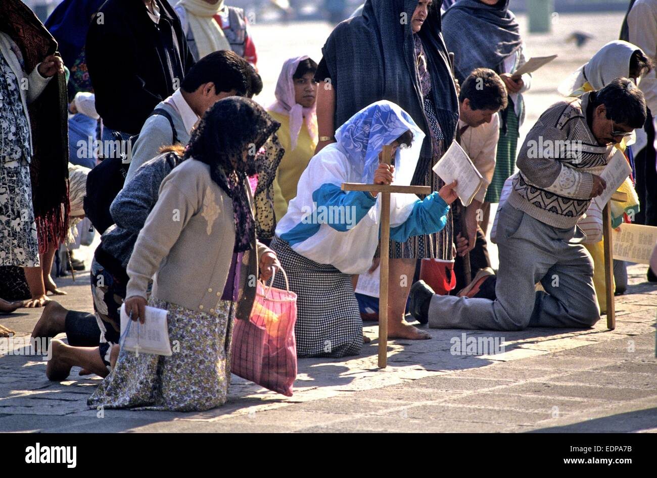 Mexico - pilgrims in Mexico City - Stock Image