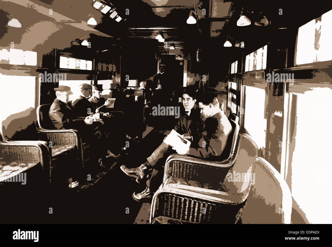 Buffet library car on a deluxe overland limited train, Railroad dining cars, Reading, Passengers, 1910 - Stock Image