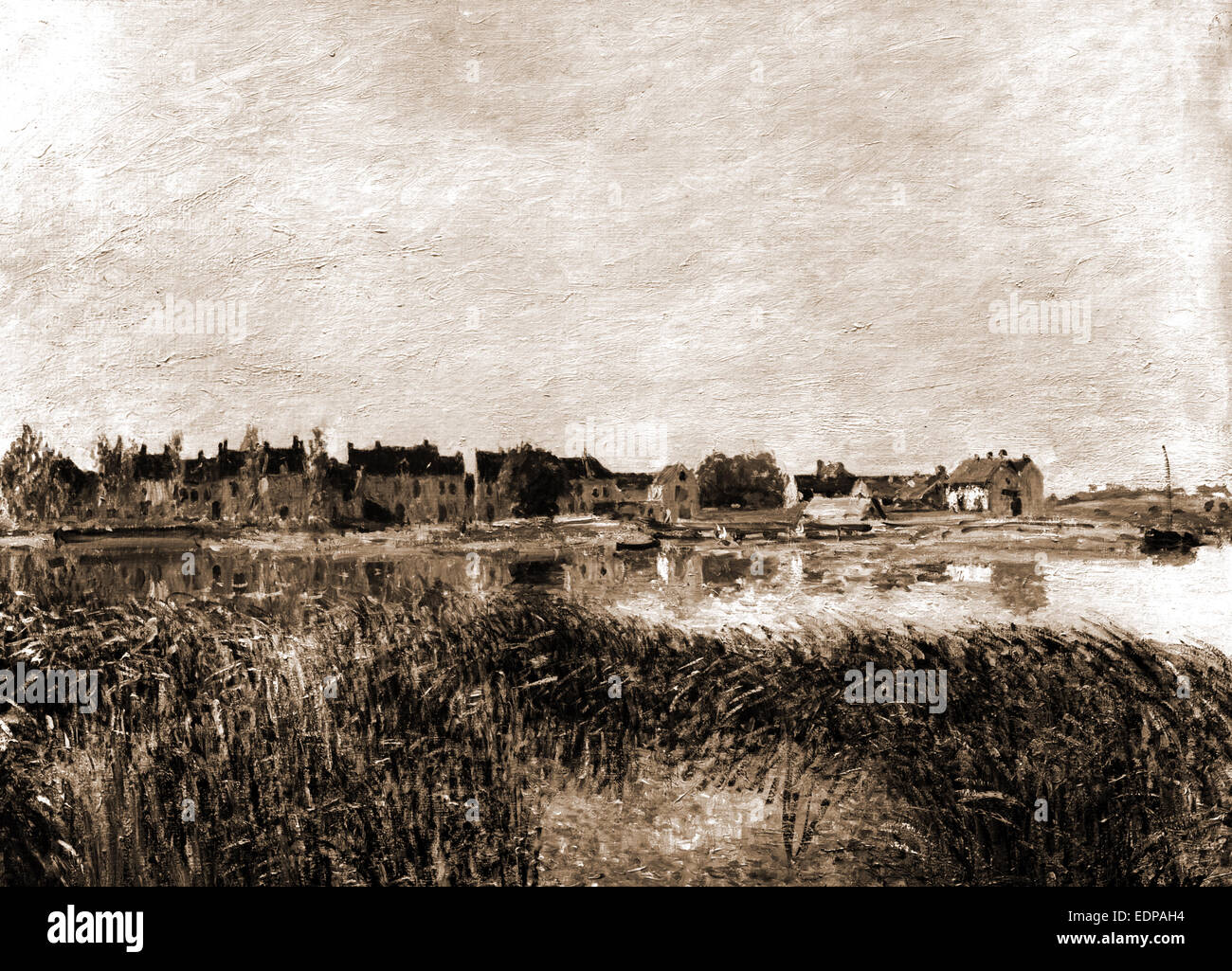 Village on shore of the Marne, Sisley, Alfred, 1839-1899, Waterfronts, France, Marne River, 1900 - Stock Image
