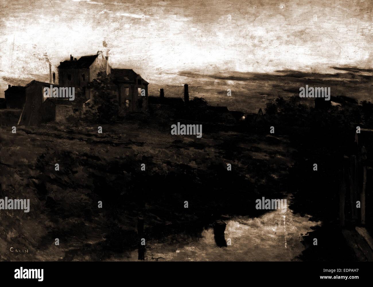 A suburb of Antwerp, Cazin, Jean Charles, 1841-1901, Waterfronts, Dwellings, Belgium, Antwerp, 1900 - Stock Image