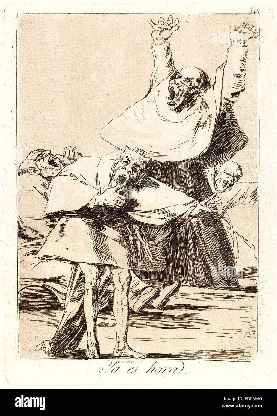 Francisco de Goya (Spanish, 1746-1828). Ya es hora. (It is time.), 1796-1797. From Los Caprichos, no. 80. Etching - Stock Image