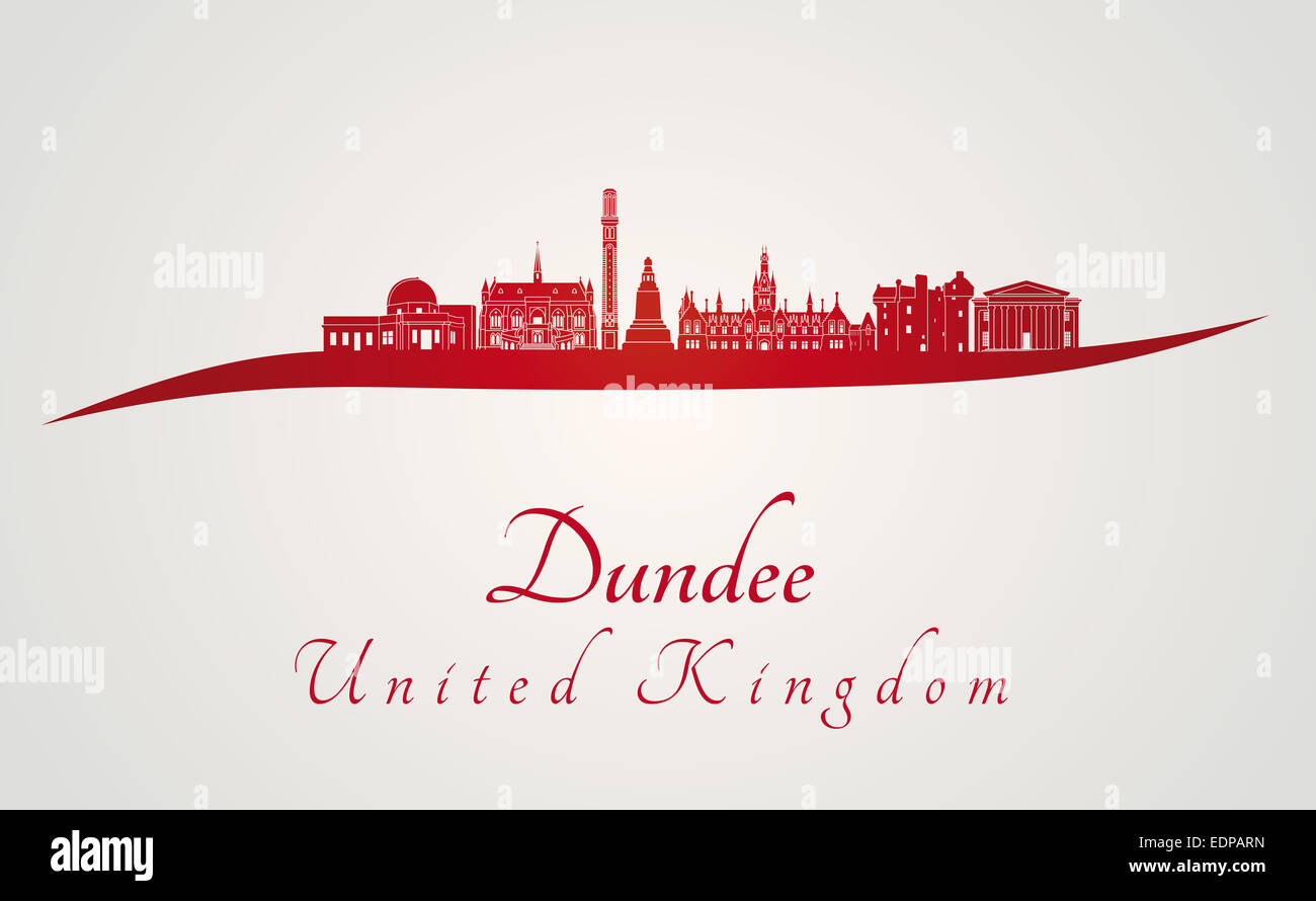 Dundee skyline in red - Stock Image