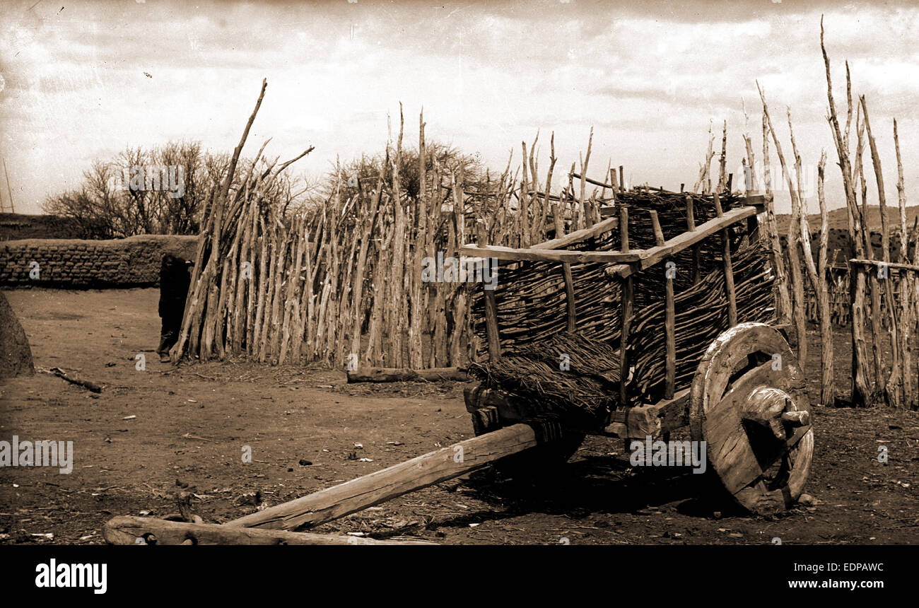 A relic of the past, Jackson, William Henry, 1843-1942, Carts & wagons, United States, New Mexico, San Juan, - Stock Image