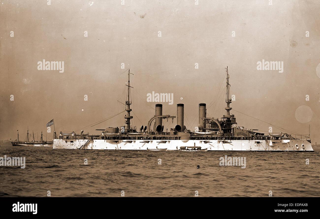 Battleship, probably American, Battleships, American, 1900 - Stock Image