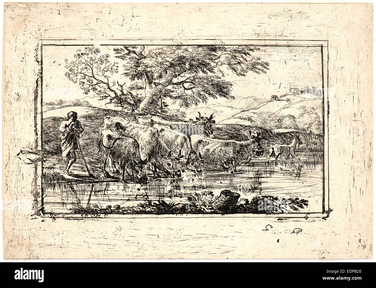Claude Lorrain (French, 1604 - 1682). Cattle Drinking, 17th century. Etching - Stock Image