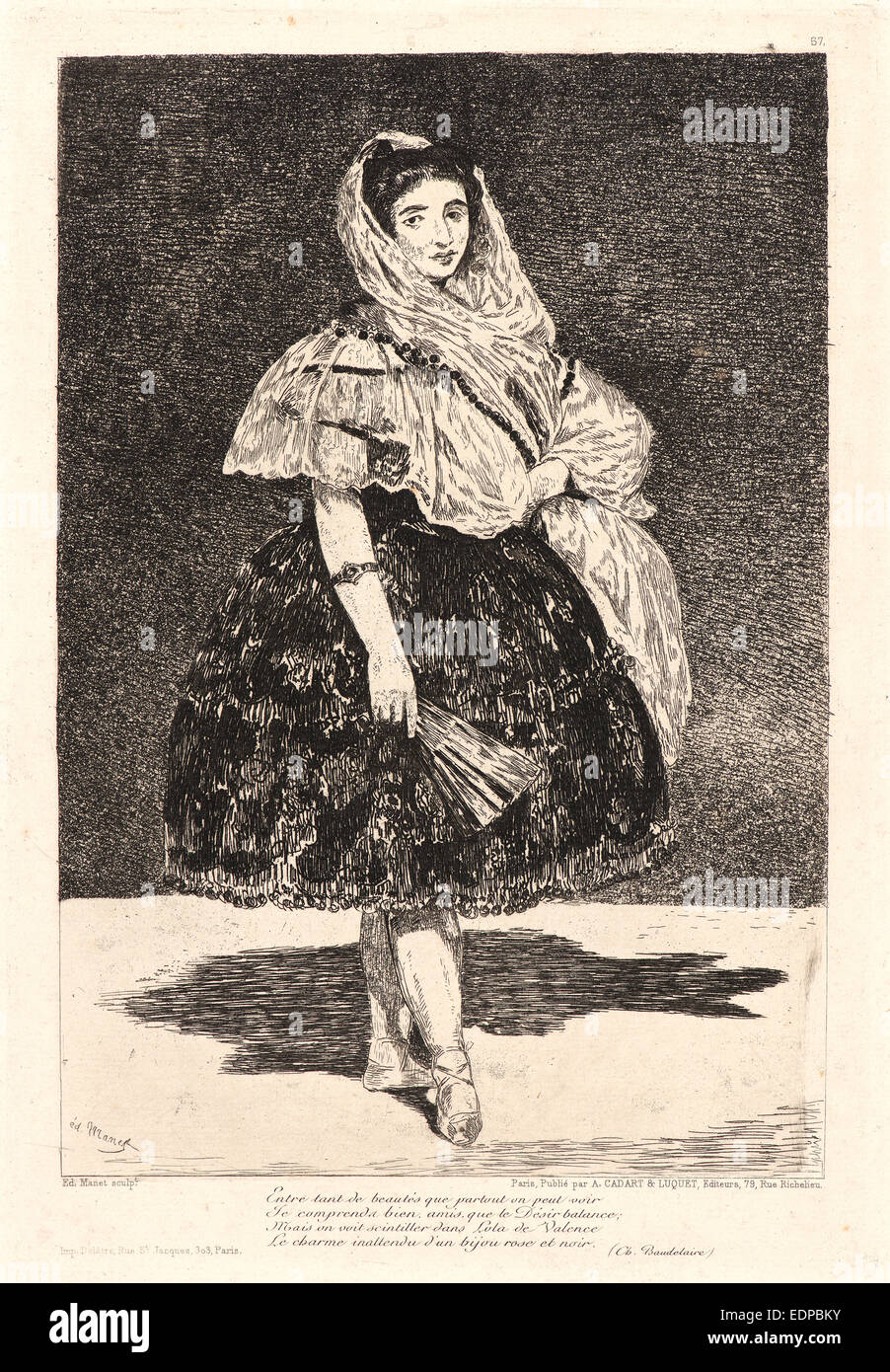 Édouard Manet (French, 1832 - 1883). Lola de Valence, 1863. Etching, aquatint, and roulette. Third state - Stock Image