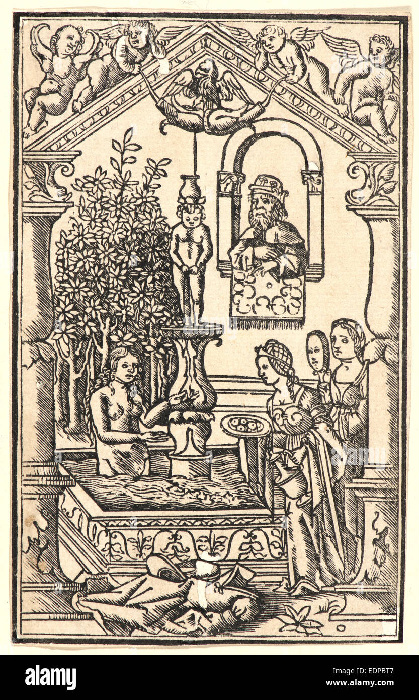 Anonymous (Italian). David and Bathsheba, ca. 1500. Woodcut - Stock Image
