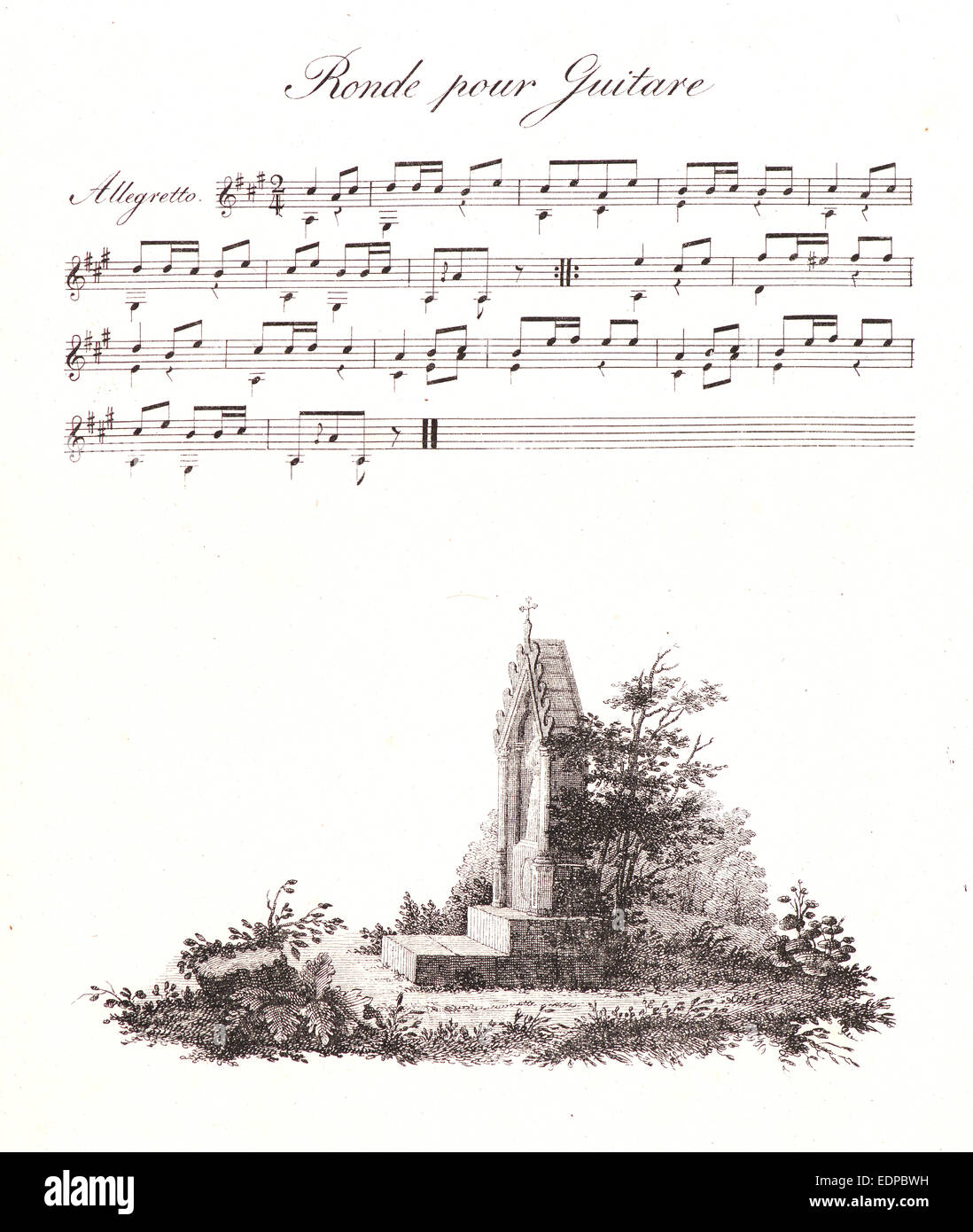 """Alois Senefelder (German, 1771 - 1834). A Pen Drawing and Musical Notes, from """"Receuil Papryographique"""", 1820 - Stock Image"""