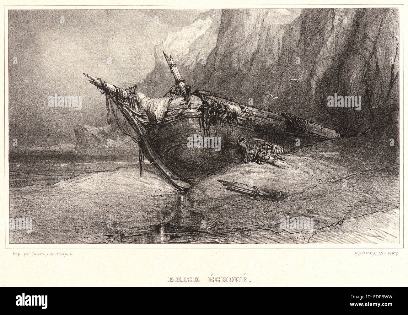 Eugène Isabey (French, 1803 - 1886). Stranded Brig, 19th century. Lithograph. First of three states - Stock Image