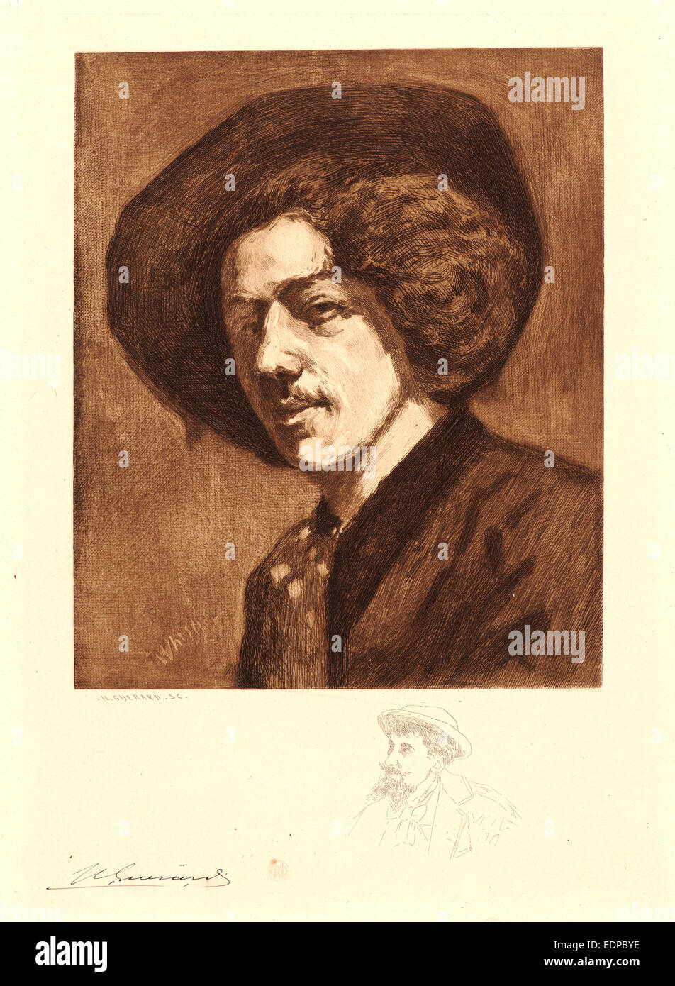 Henri Charles Guérard (French, 1846 - 1897) after James McNeill Whistler (American, 1834 - 1903). Portrait - Stock Image