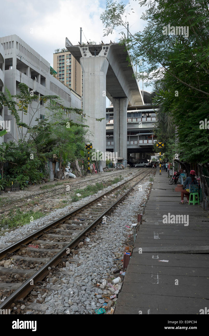 End of the Line Construction Work Airport Railway Link at Phaya Thai in Bangkok Stock Photo