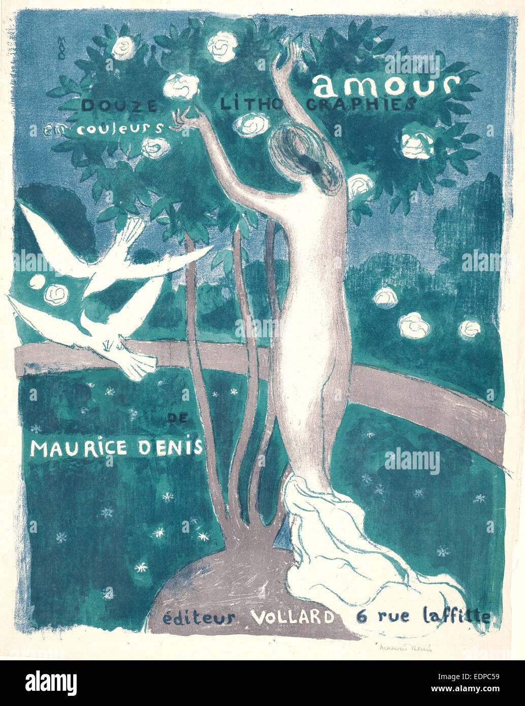 Maurice Denis (French, 1870 - 1943). Love (Amour), 1892-1899. Lithograph printed in three colors (grey, green, and - Stock Image