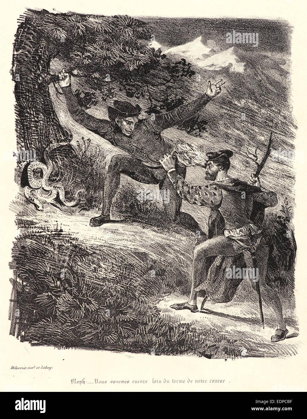 Eugène Delacroix (French, 1798 - 1863). Faust and Mephistopheles in the Hartz Mountains (Faust et Méphistophélès) - Stock Image