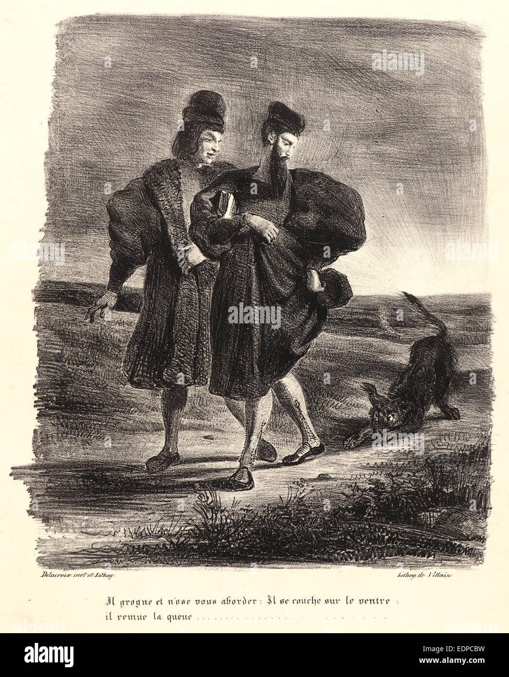Eugène Delacroix (French, 1798 - 1863). Faust, Mephistopheles, and the Water Dog (Faust, Méphistophélès - Stock Image