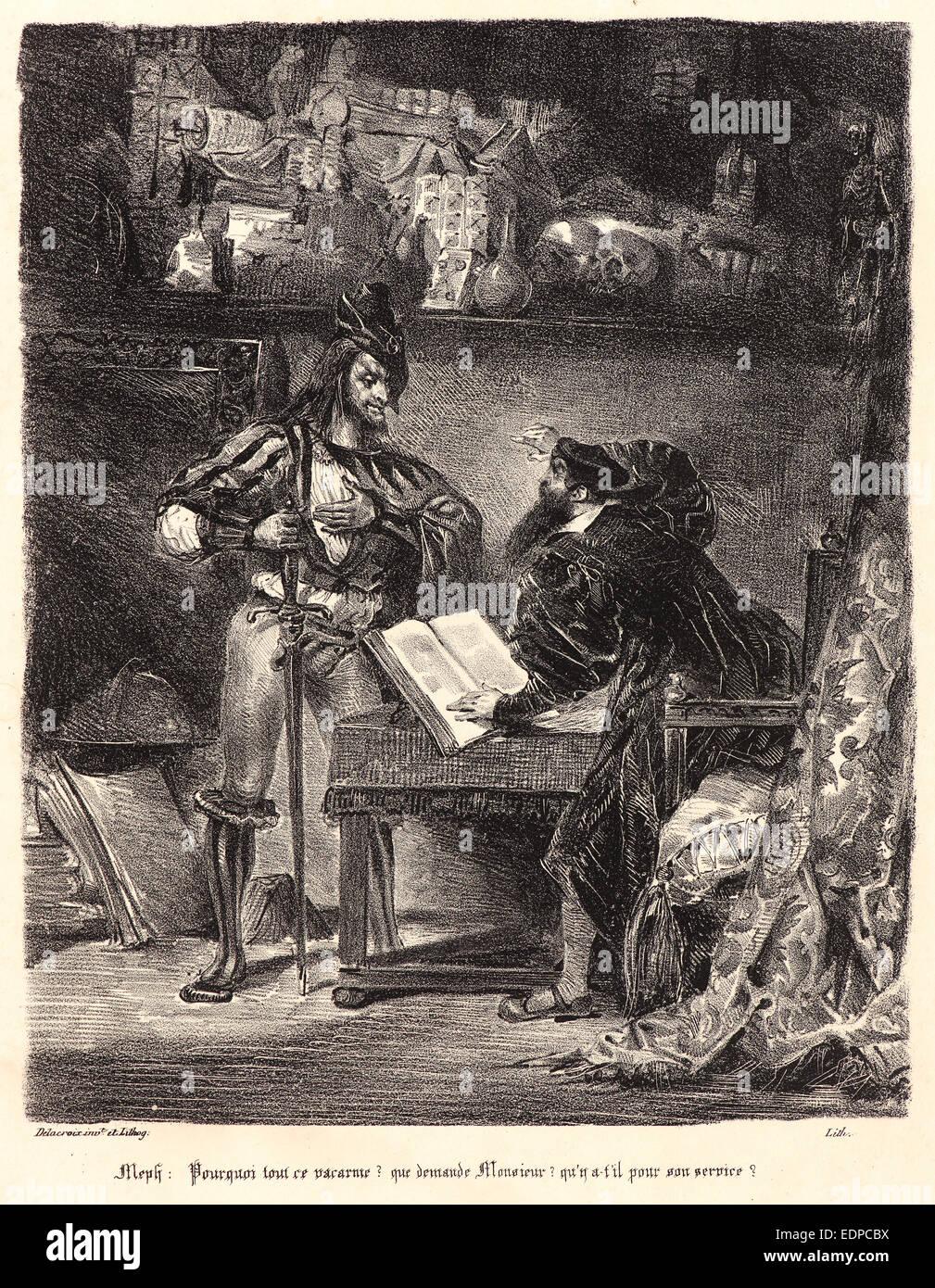 Eugène Delacroix (French, 1798 - 1863). Mephistopheles Appearing to Faust (Méphistophélès apparaissant - Stock Image