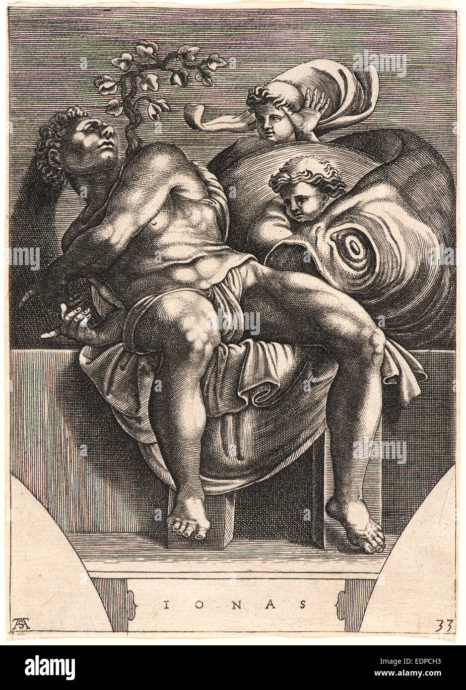 Michelangelo Buonarroti (Italian, 1475 - 1564). The Prophet Jonah, late  16th century. Engraving on laid paper